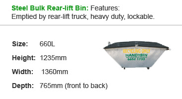 Steel Bulk Rear-lift Bin: Features: Emptied by rear-lift truck, heavy duty, lockable.
